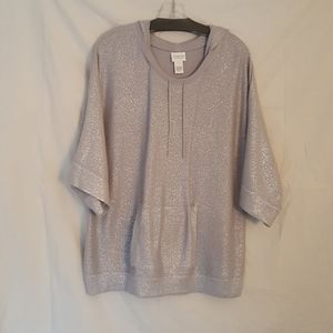 Chicos Silver Knit Doleman Pullover